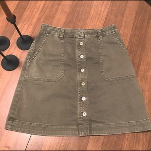 Anthropologie Khaki Green Button Skirt